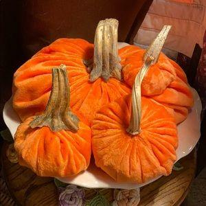 4 Velvet Orange Pumpkins Fall Halloween